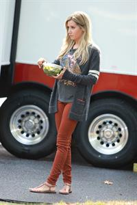 Ashley Tisdale on a lunch break while shooting Scary Movie 5 10/2/12