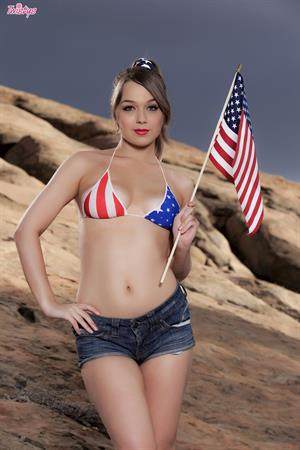 Alaina Fox Twistys treat of the month for July 2015 - takes off Stars and Stripes bikini