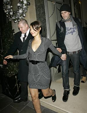 Amelle Berrabah outside the Claridges Hotel on December 2, 2009