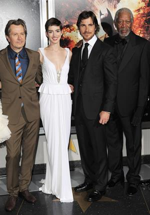 Anne Hathaway attending the Dark Knight Rises premiere in New York on July 15, 2012