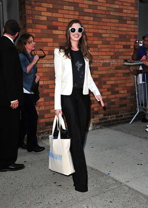 Anne Hathaway leaves the Daily Show with Jon Stewart in New York City on August 18, 2011