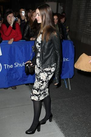Anne Hathaway leaving Hugh Jackman on Broadway Performance in New York City on November 20, 2011