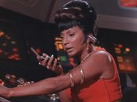 Nichelle Nichols as Lt. Uhura on Star Trek Bridge