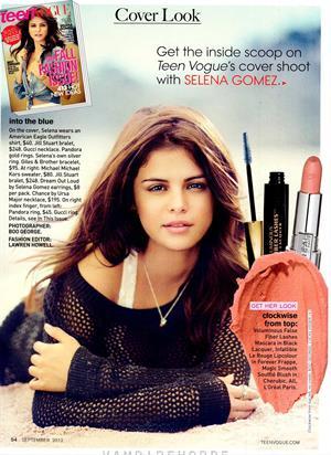 Selena Gomez teen vogue september 2012