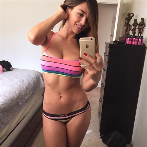 Ana Cheri in a bikini taking a selfie