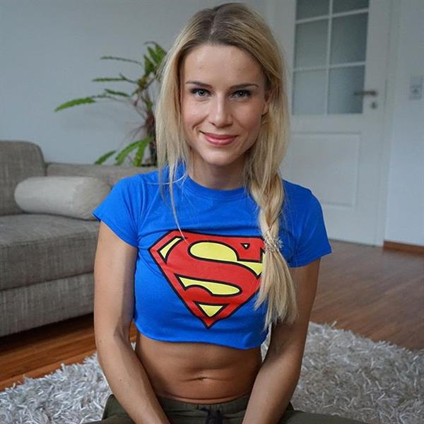Adrienne Koleszár in Supergirl shirt
