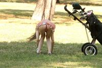 Alicia Arden golfing in a tiny skirt.  Upskirt pink panties.