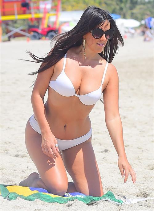 Claudia Romani at the beach in Miami