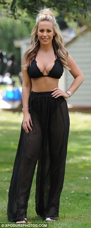 Kate Wright in Black Bikini top and sheer bottom