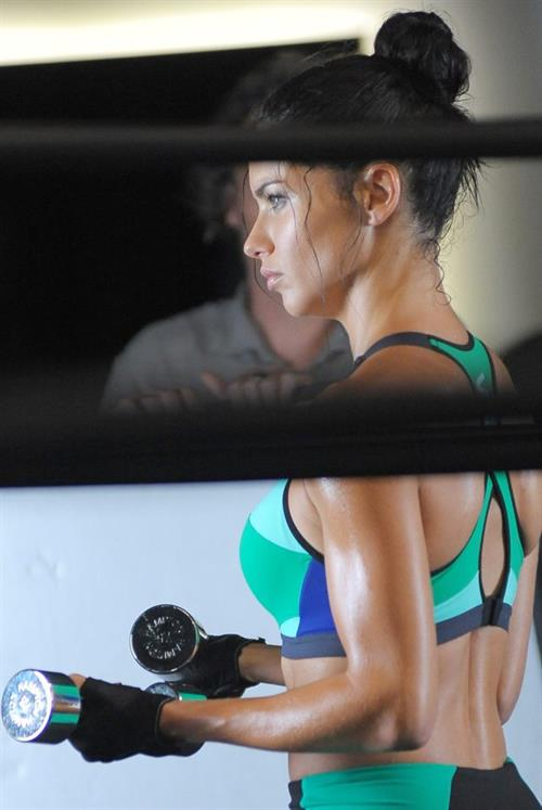 Adriana Lima working out in New York for a Victoria's Secret campaign