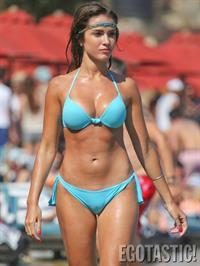 Catarina Sikiniotis shows off her blue bikini in Greece