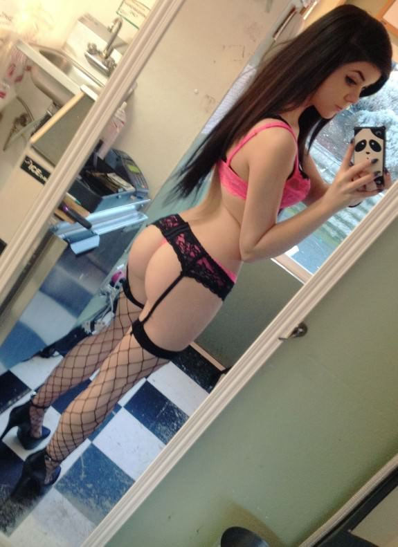 Danni Meow in lingerie taking a selfie and - ass