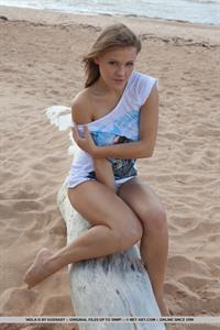 Viola Bailey poses nude on the beach