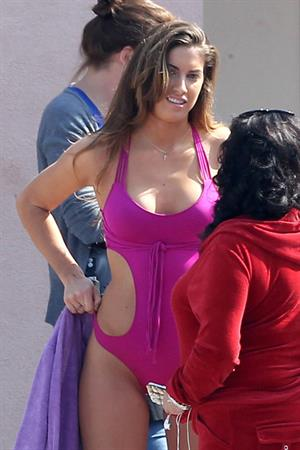 Katherine Webb, Miss Alabama USA 2012, in a pink swimsuit on the set for the TV show 'Celebrity Diving' in Los Angeles.