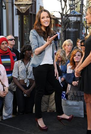 On the set of Extra at The Grove in LA on January 17, 2013