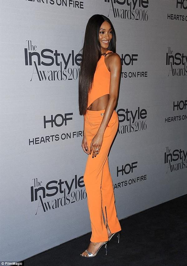 Jourdan Dunn in Orange Crop Top