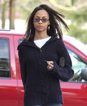 Zoe Saldana out and about in Los Angeles December 11, 2011