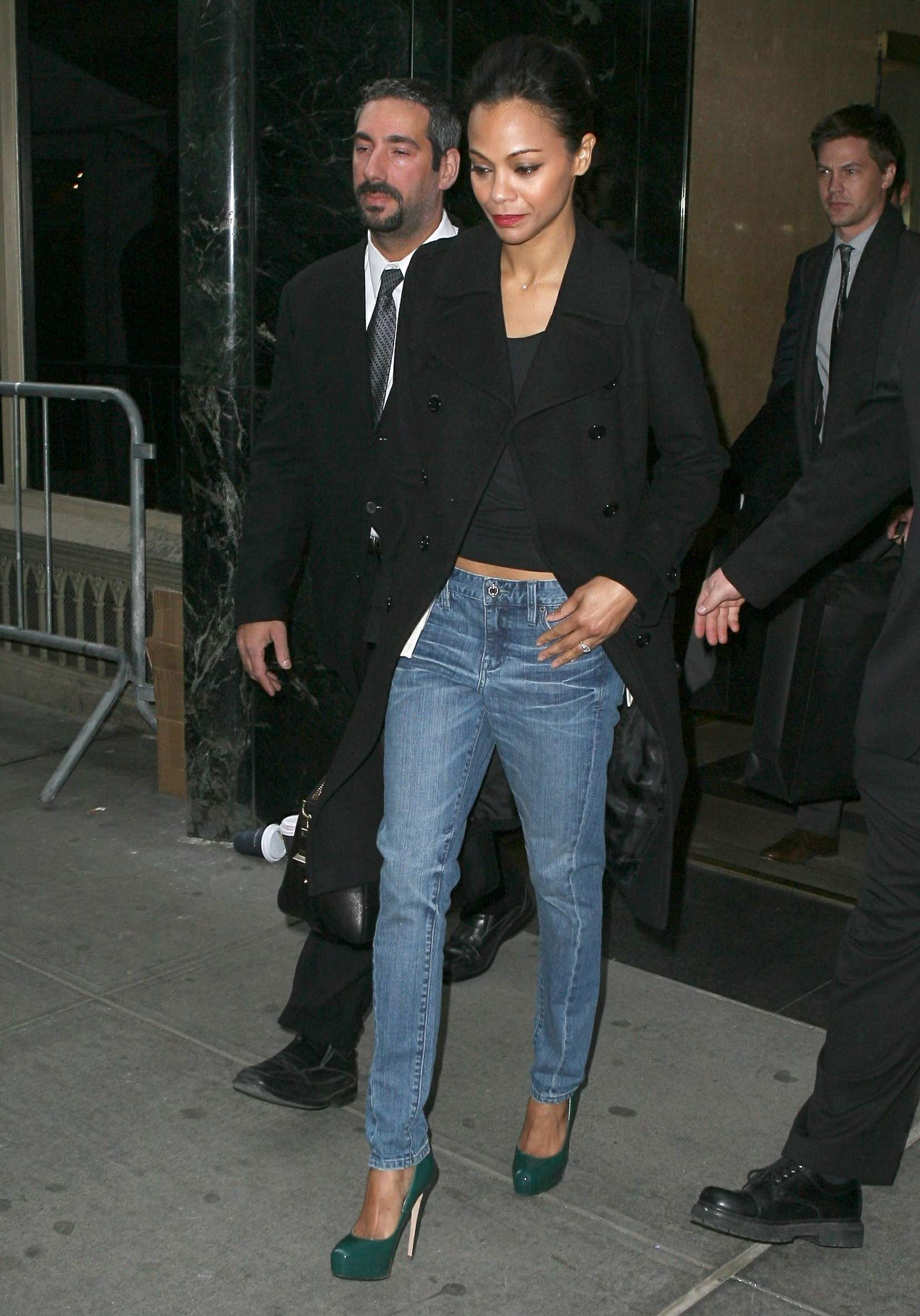 Zoe Saldana leaving the Calvin Klein fashion show - February 17, 2011