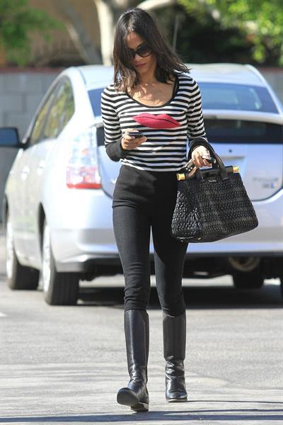Zoe Saldana outside a Recording Studio in Hollywood