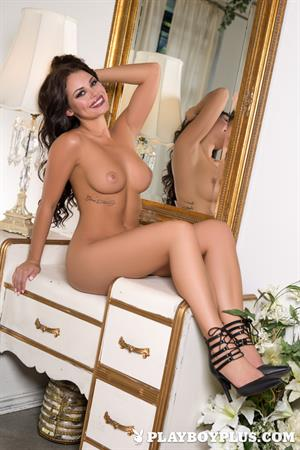Playboy Cybergirl Shelly Lee wearing nothing but high heels