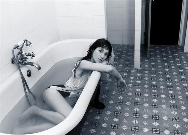 Charlotte Gainsbourg in a bathtub