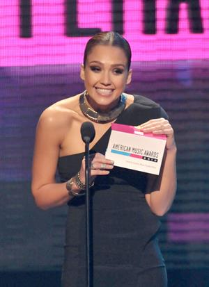 Jessica Alba at the American Music Awards at Nokia Theatre Los Angeles on November 21, 2010