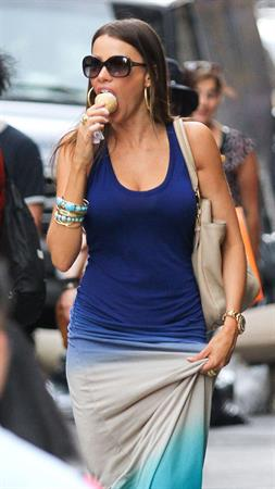 Sofia Vergara eating ice cream in New York City, Jun 11, 2012