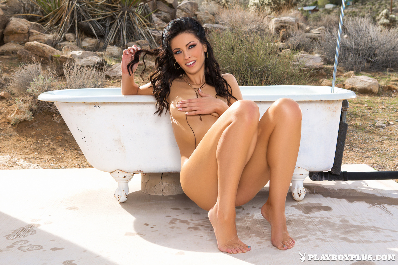 Playboy Cybergirl - Darah Kay takes a bath outside