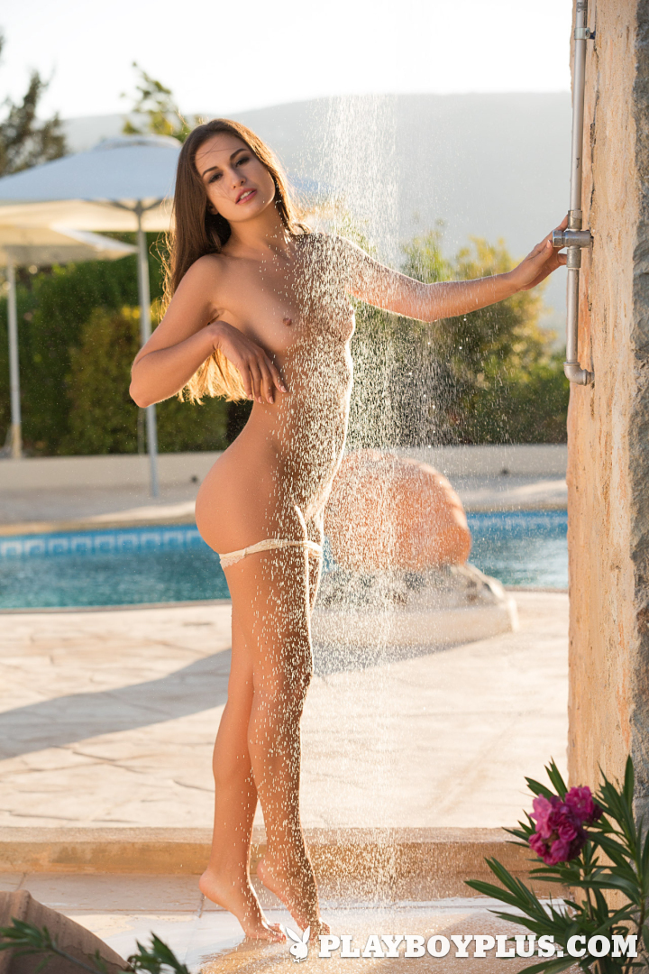 Playboy Cybergirl - Demi Fray nude showering outside by the pool for Playboy Plus!