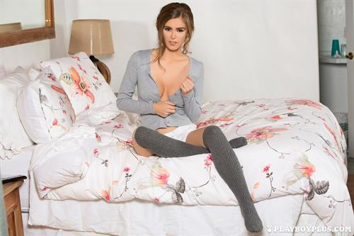 Playboy Cybergirl Amberleigh West Nude on a bed for Playboy Plus!