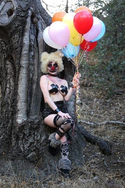 Courtney Stodden as a topless evil clown
