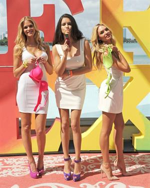 Adriana Lima, Candice Swanepoel, and Erin Heatherton for Victoria's Secret Very Sexy Jet Tour on February 28, 2012