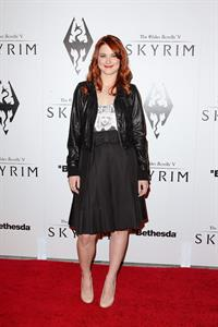 Alexandra Breckenridge attends The Elder Scrolls V Skyrim video game launch party in Los Angeles on November 8, 2011