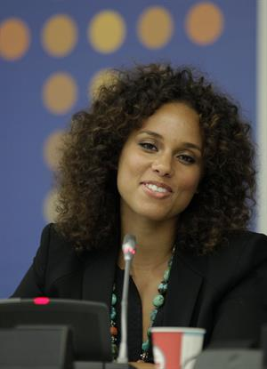 Alicia Keys attends the United Nations Social Innovation Summit in New York on May 5, 2012