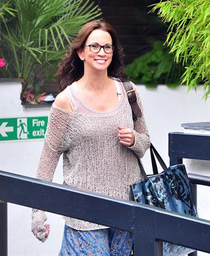 Andrea McLean outside ITV studios on July 27, 2011