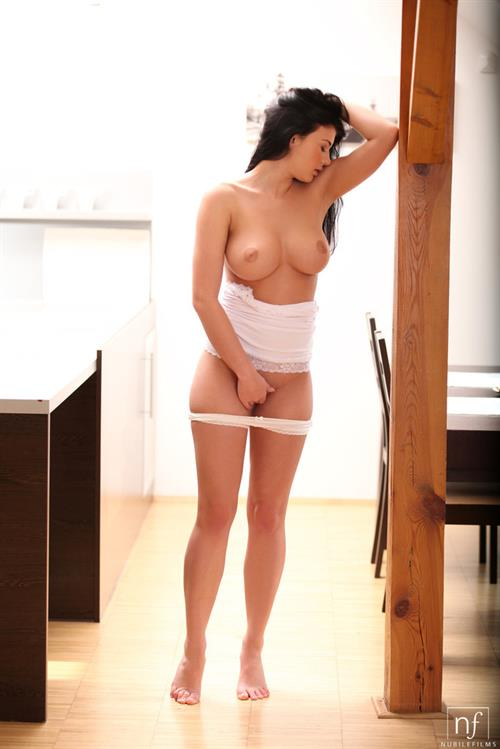Lucy Li naked in the kitchen