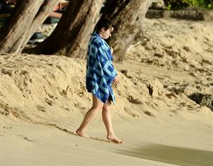 Demi Lovato and her bodyguard are spotted on the beach in Barbados April, 16 2013