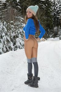 Katya Clover naked in the snow.