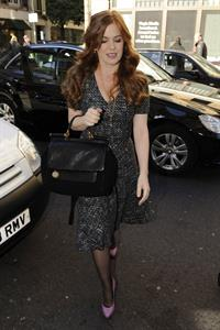 Isla Fisher leaving BBC Radio 1 studios in London on October 25, 2010