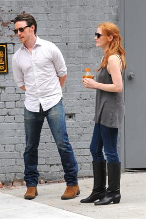 Jessica Chastain - The set of  The Disappearance of Eleanor Rigby  in New York City (13 Jul 2012)