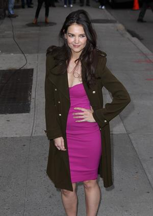Katie Holmes arrives for her appearance on The Late Show with David Letterman in New York 12/20/12