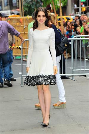 Lily Collins Outside 'Good Morning America' studio - New York, Aug. 7, 2013