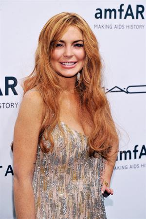 Lindsay Lohan amfAR New York Gala To Kick Off Fall 2013 Fashion Week on February 6, 2013