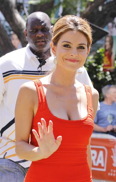 Maria Menounos on the set of Extra in Los Angeles on July 16, 2013
