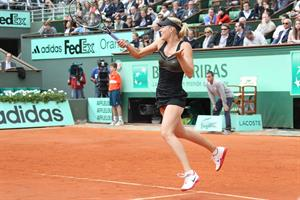 Maria Sharapova playing in Semi-Finals of 2012 Women's French Open Tennis Tournament June 7, 2012