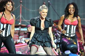 Alecia Moore (Pink) performing at the O2 Wireless festival in London on July 2, 2011