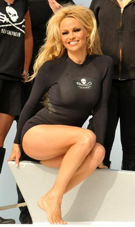 Pamela Anderson Launches Sea Shepherds Operation Zero Tolerance Whale Defense Campaign on November 2, 2012