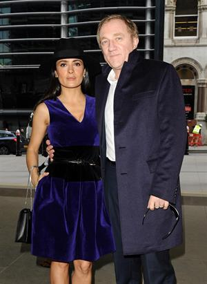 Salma Hayek Christopher Kane show at London Fashion Week 2/18/13