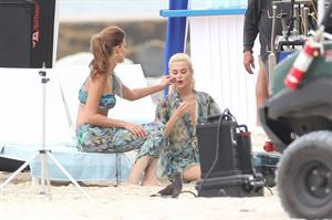 Minka Kelly and Rachael Taylor film Charlies Angel's on a beach in Miami 02-09-2011