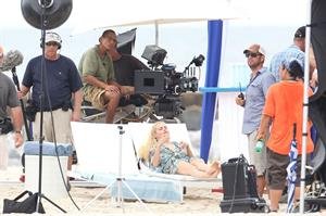 Rachael Taylor filming Charlie's Angels on a beach in Miami 02-09-11